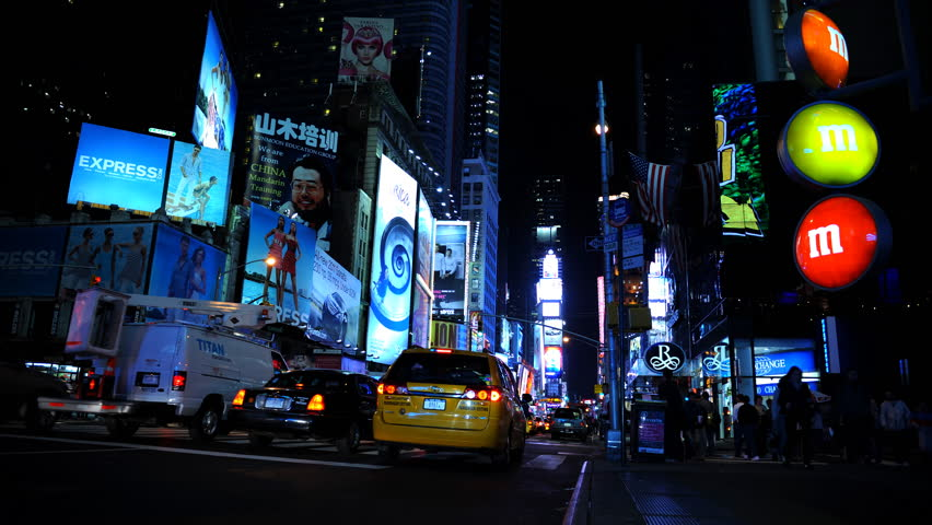NEW YORK CITY, USA - MARCH 5, 2010 Time Lapse of Cars Traffic Jam on Times Square in New York City Rush Hour Night