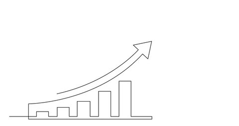 Self drawing line animation of business concept sketch of economical growth chart with arrow