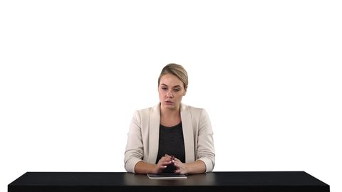 A female newsreader presenting the news, add your own text or image screen behind her, white background