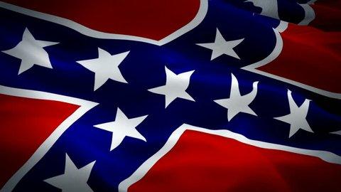 Rebel flag Civil war waving in wind video footage Full HD. Realistic Rebel Flag background. Confederate Flag Looping Closeup 1080p Full HD 1920X1080 footage. Confederate Dixie country flags Full HD