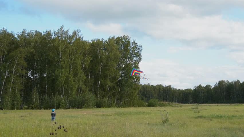 Little boy flying rainbow kite in the woods. Outdoor activities for kids | Shutterstock HD Video #1023708016