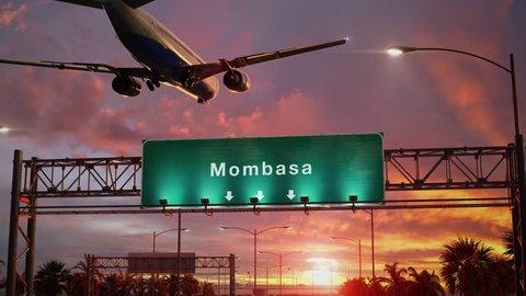 Airplane Landing Mombasa during a wonderful sunrise