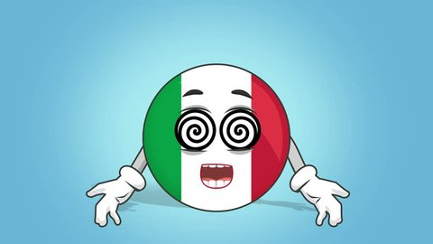 Cartoon Icon Flag Italy Hypnosis with Face Animation with Alpha Matte