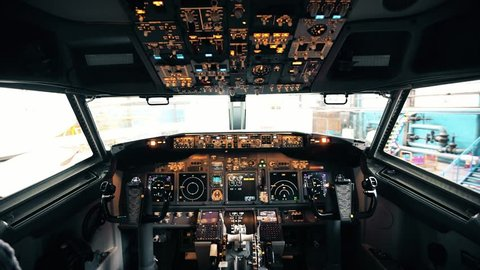 Detailed shooting of the cockpit of a Boeing 737 embraer passenger aircraft