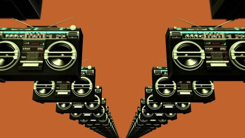 Abstract 3D rendering animation of Retro Style Background - Group of Boomboxes.