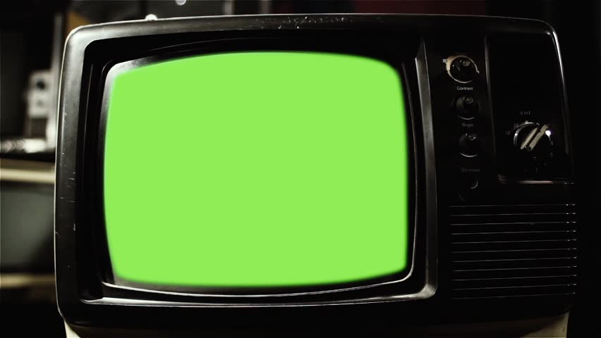 "Vintage Television with Green Screen.  Zoom In. You can replace green screen with the footage or picture you want with ""Keying"" effect (check out tutorials on YouTube). 