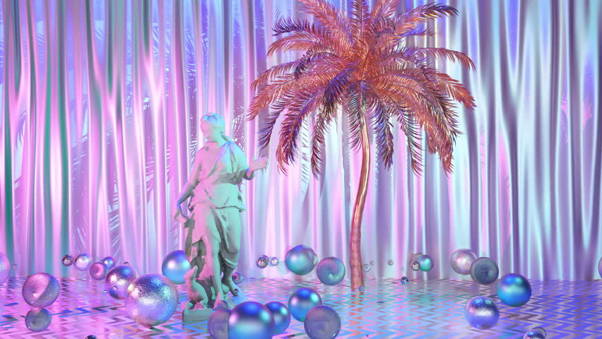 Creative 4k video in web-punk and vaporwave style with sculpture, balls, palm and holographic elements . Loop 3d animation.