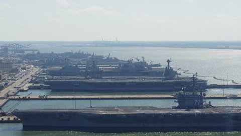 Norfolk Virginia Aerial v42 Panoramic view of Naval pier, ships, and station grounds right to left 10/17