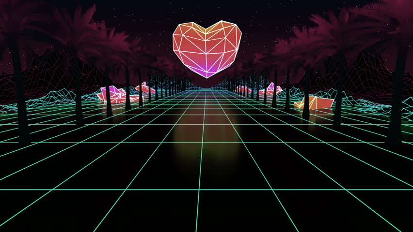 Low poly duotone Heart. Glowing neon, light grid landscapes. Palms. Animation grid, 80s Retro Sci-fi background. Cyberpunk. Retrofuturism. Synthwave. Retrowave. Looping animation