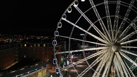 Liverpool, United Kingdom (UK) - 12 01 2018: The Wheel of Liverpool illuminated at night. The wheel was opened on 25 March 2010 and is 60 m tall