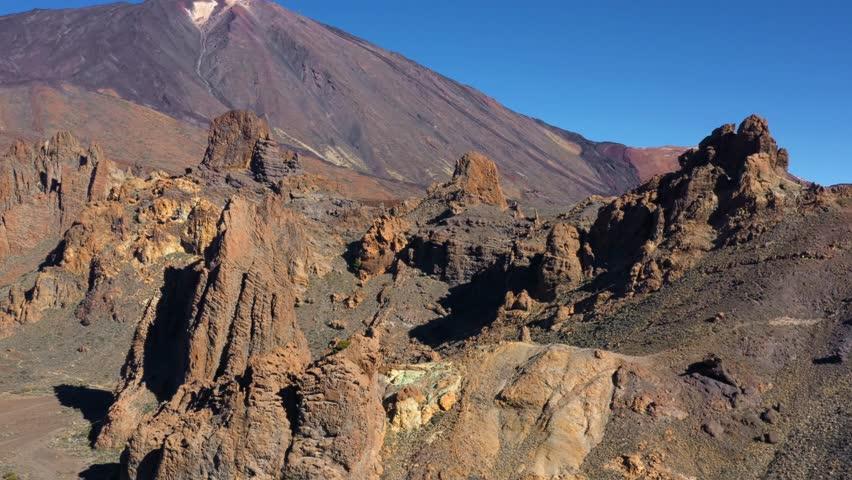 Aerial view of Los Roques de Garcia near Teide on Tenerife