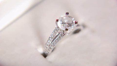 Diamond engagement ring in a box shaped heart - slider shoot