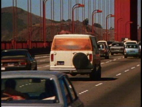 SAN FRANCISCO, CALIFORNIA, 1979, Golden Gate Bridge, traffic on bridge