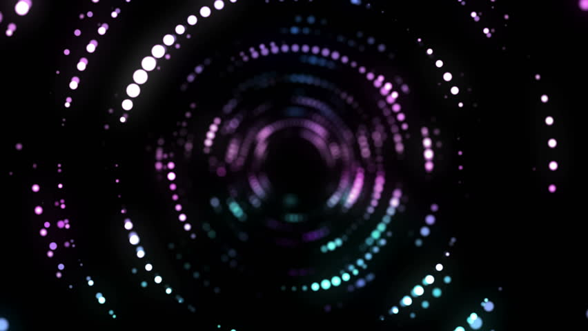 4K Abstract wavy motion background. Neon lights. Glowing dots spiral tunnel. Bright vibrant dots. laser illumination. Pink and blue colors