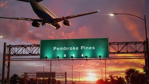 Airplane Landing Pembroke Pines during a wonderful sunset
