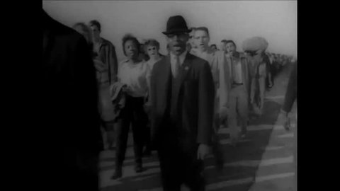 CIRCA 1965 - Excellent silent footage of the civil rights movement Selma-to-Montgomery march for African American equality and equal rights in the US.
