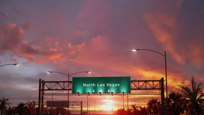 Airplane Landing North Las Vegas during a wonderful sunset | Shutterstock HD Video #1024167506