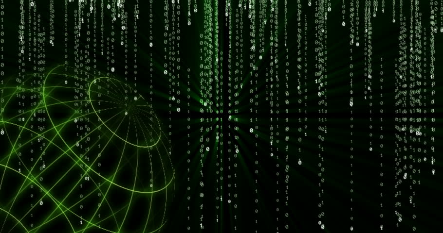 Glowing green NEO (NEO) cryptocurrency symbol appearing against the background of a spinning globe and falling green glowing binary code symbols | Shutterstock HD Video #1024170956