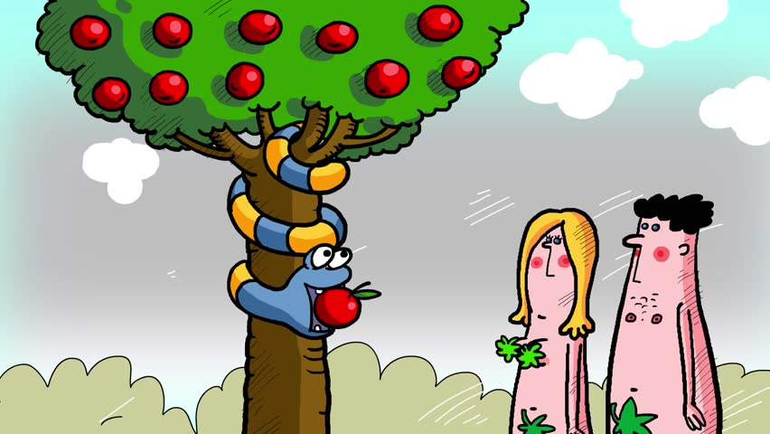 Adam and Eve. Sin apple and serpent. The first man and woman. They are happy in the garden, but want more...