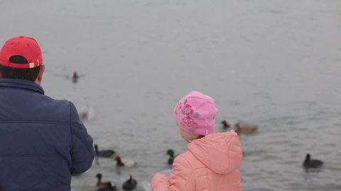 Russia. Novorossiysk. 12.12.2018. Father and daughter feed ducks