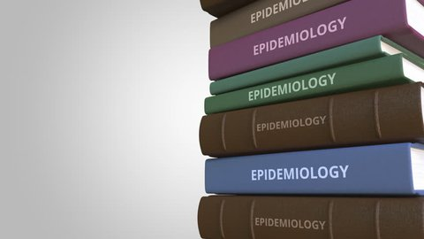 Pile of books on EPIDEMIOLOGY, loopable 3D animation