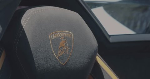 Paramus,NJ - 2/17/19 - Closeup of Lamborghini logo stitching.