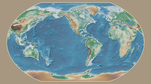 Iran area presented against the global physical map in the Kavrayskiy VII projection with animated oblique transformation