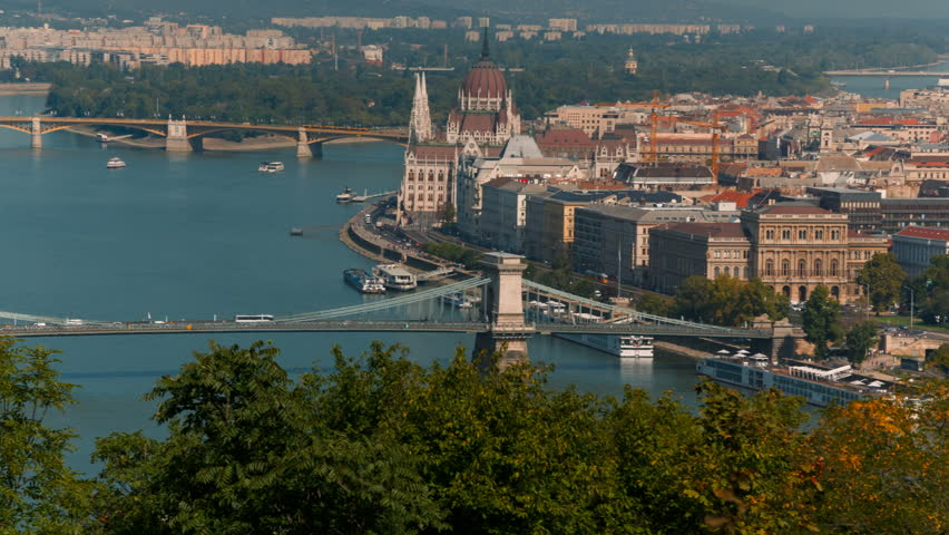 Wide shot of the Hungarian Parliament Building, an iconic landmark of Hungary and a popular tourist destination in Budapest | Shutterstock HD Video #1024339616