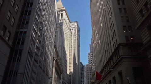 NEW YORK CITY - NOVEMBER 2016: Hyperlapse walk on Broad Street toward New York Stock Exchange in New York City, USA