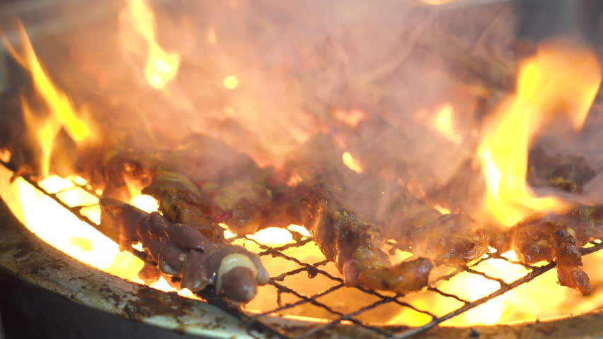 Many kinds of meat getting grill on stove and it is too hot! | Shutterstock HD Video #1024372706