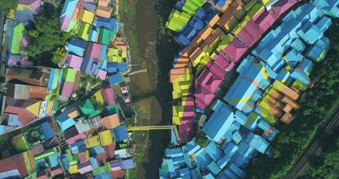 Scenic Aerial View of Colorful Village (Kampung Warna Warni) Jodipan and Tridi (3D) Village, Malang East Java, Indonesia, Asia
