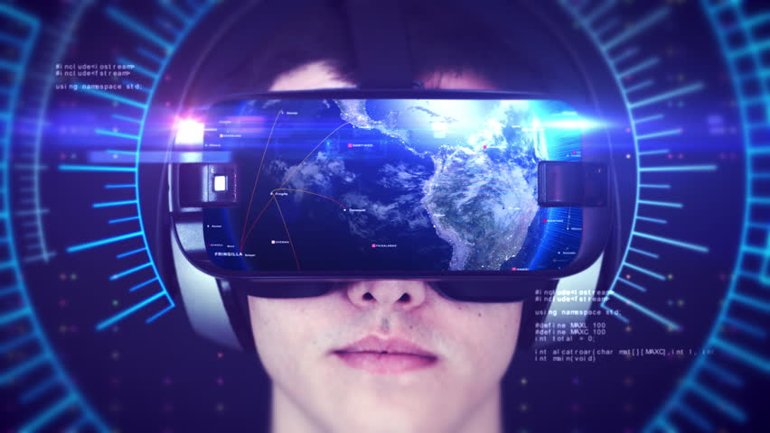 Young man wearing VR headset and experiencing 3D virtual reality. Technology related digital earth network concept. Seamless Loop.   Shutterstock HD Video #1024383356