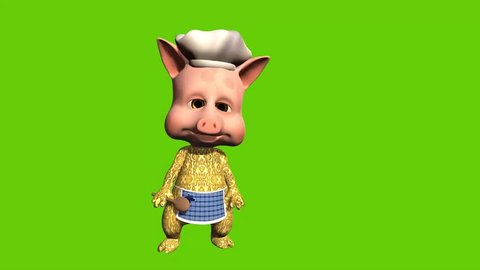 Funny 3d animation of cartoon pig chef inviting people into his restaurant of café. Set on a green screen background.