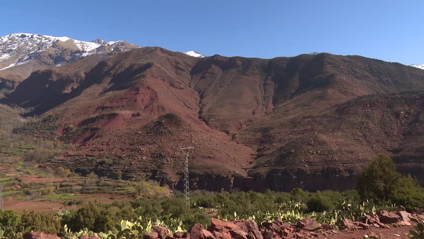 Five clips of a big Berber Village In Atlas Mountains In Morocco. Pan - wide - long view