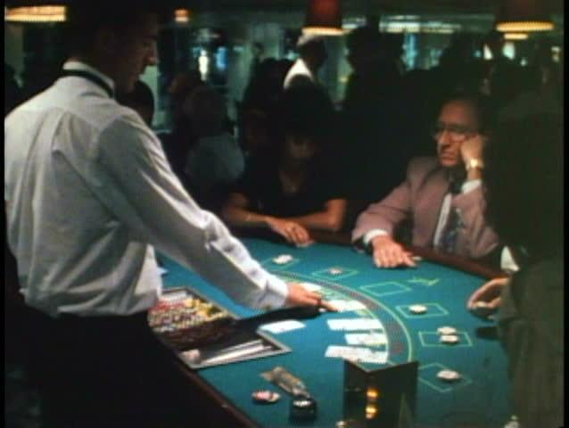 AT SEA, ATLANTIC OCEAN, 1994, Cruise ship casino, blackjack table | Shutterstock HD Video #1024434116
