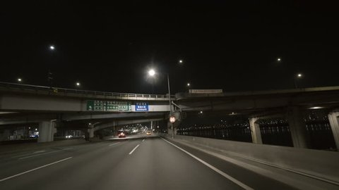 Seoul Korea on Jan 21st 2019. DRIVING BY A RIVER at night.