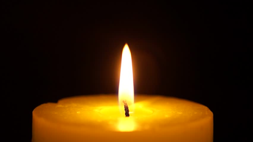Beautiful Fire Of A Candle In Dark Room Warm Yellow Quietly Burning