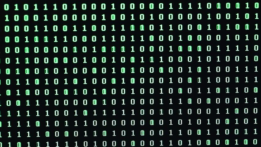 Random sequence of green digit 0 and 1 on the computer monitor | Shutterstock HD Video #1024536776