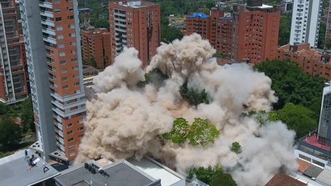 Medellín, Colombia, February, 22, 2018: Demolition of the Monaco building that belonged to the Colombian drug lord Pablo Escobar