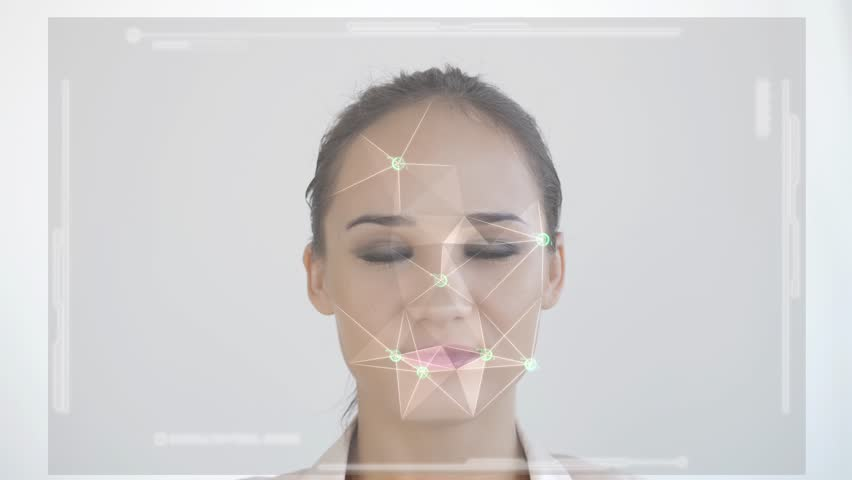 Futuristic and technological scanning of the face of a beautiful woman for facial recognition and scanned person. Example of an granted access. slow motion. 3840x2160 | Shutterstock HD Video #1024603196