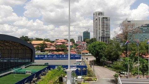 JOHOR BAHRU, JOHOR, MALAYSIA - FEBRUARY 23, 2019: Johor flag fluttering beside JDT FC Training Center