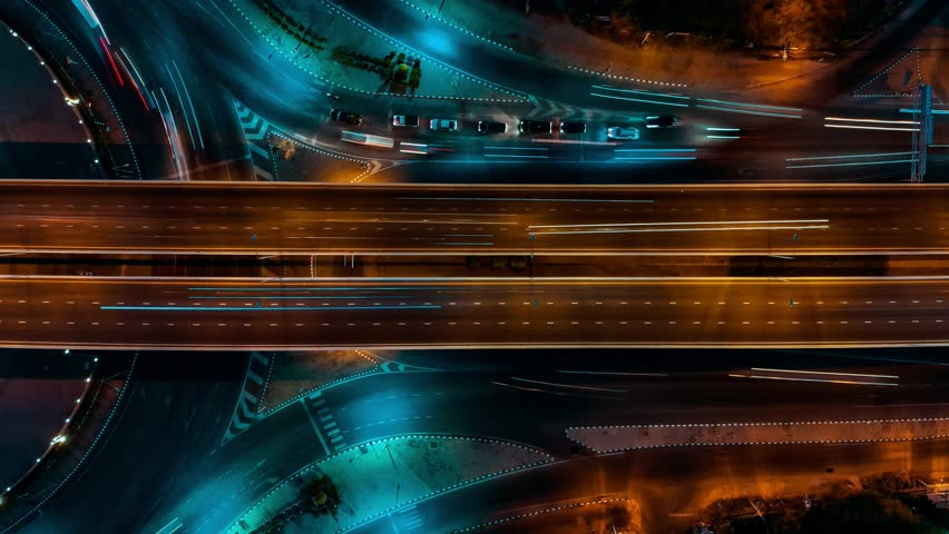 Expressway at night top view, Road traffic an important infrastructure in Thailand | Shutterstock HD Video #1024621106