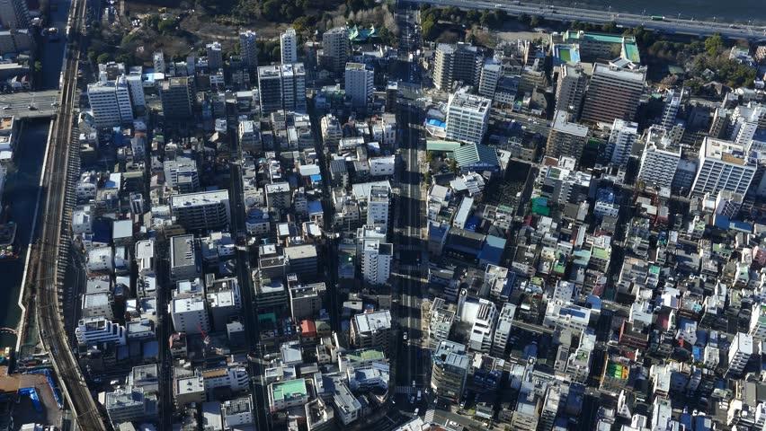 Bird's eye view of Tokyo city, Japan. #1024650686