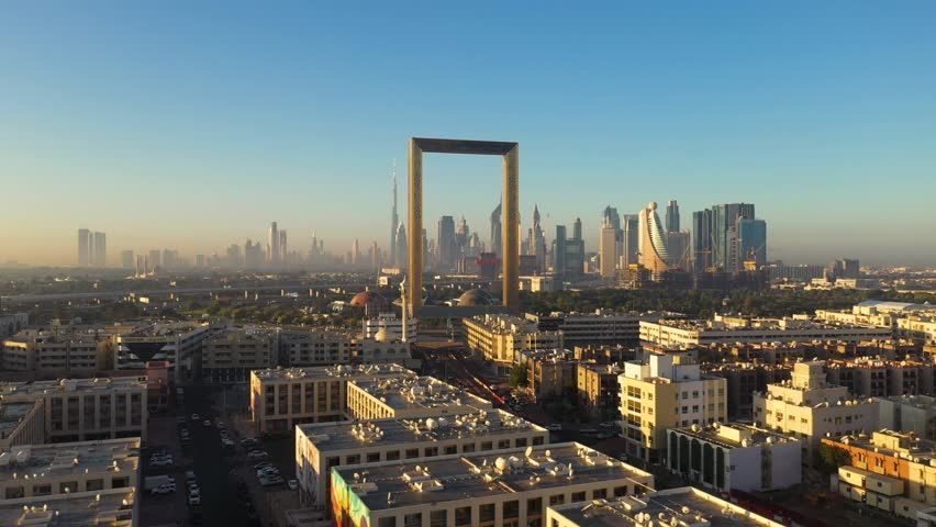 Aerial view of Dubai frame landmark during the sunset, Dubai, U.A.E