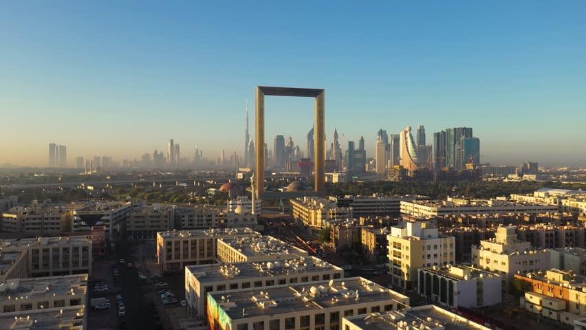 Aerial view of Dubai frame landmark during the sunset, Dubai, U.A.E | Shutterstock HD Video #1024674236