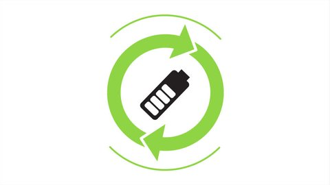 Recycle icon with rotating arrows. Battery sign inside. (Seamless Loop Animation)