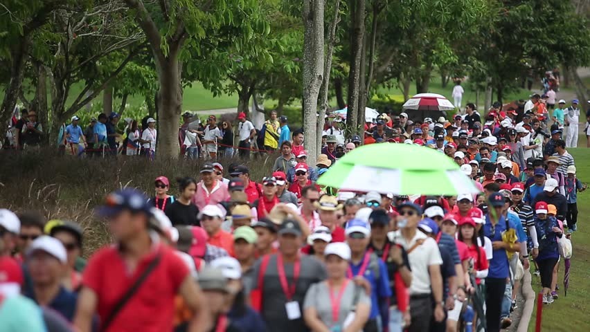 CHONBURI, THAILAND - FEB 24, 2019 :Unidentified golf fans during Honda LPGA Thailand 2019 at Siam Country Club Pattaya Old Course on FEB 24, 2019.