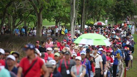 CHONBURI, THAILAND - FEB 24, 2019 :Unidentified golf fans during Honda LPGA Thailand 2019 at Siam Country Club Pattaya Old Course on FEB 24, 2019.