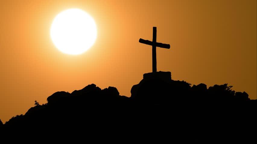 Cross Silhouette, Sunset Timlapse #1024758806