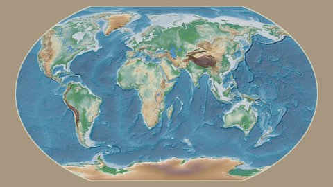 United States Hawaii area presented against the global physical map in the Kavrayskiy VII projection with animated oblique transformation